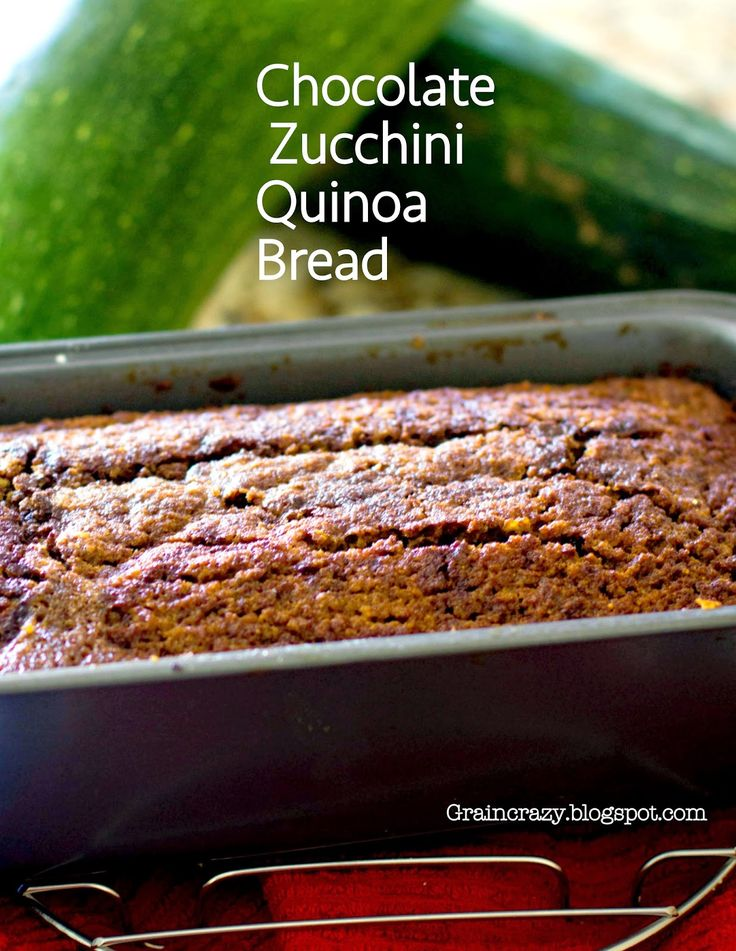 Grain Crazy: Moist Yummy Chocolate Zucchini Quinoa Bread (Gluten Free) Great way to eat zucchini. :)