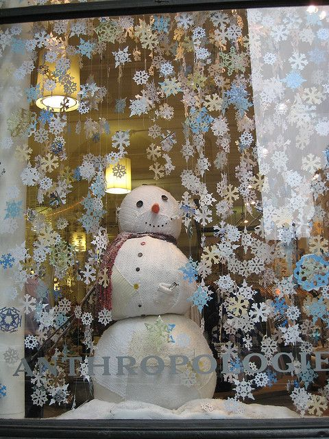 Anthropologie #Snowman window display, via Flickr by ShellyS.