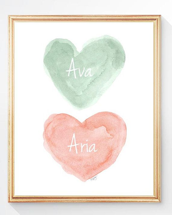 Coral and Mint Nursery Peach and Mint by OutsideInArtStudio