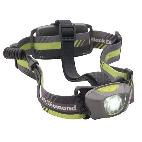 Black Diamond Equipment Sprinter LED Headlamp).  The best! Very bright. Rechargable. Flashing red light in the back.
