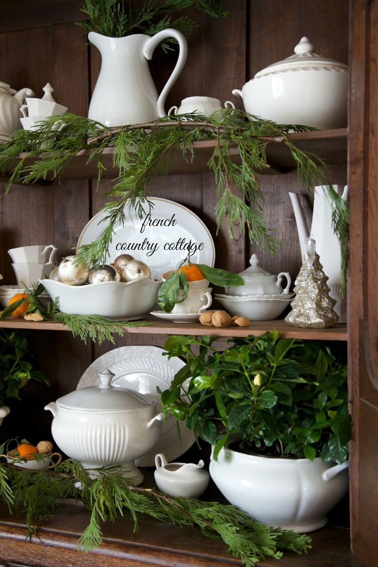 FRENCH COUNTRY COTTAGE: French Country Cottage Christmas ~ Home Tour  Use fresh greenery anywhere you can.