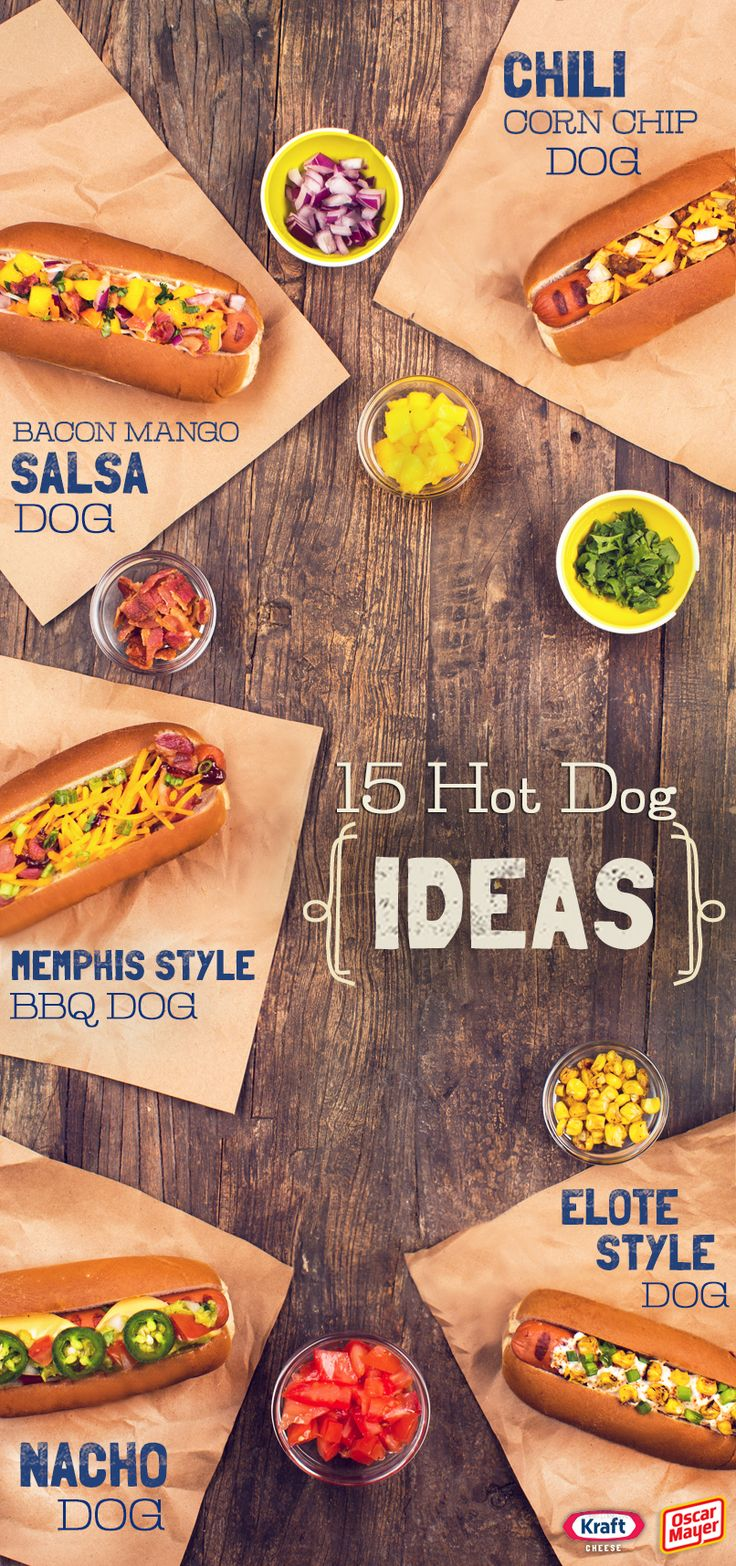 15 Hot Dog Ideas - Looking for a way to dress up your juicy hot dogs beyond the basics? Click to check out the tasty combos we came up with!