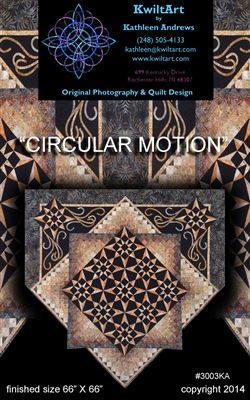 Circular Motion is a contemporary quilt pattern creating circular motion by the interaction of the way the star blocks are set together. More 3D optical illusions are created by shapes and shading. This quilt design is for the intermediate quilter.