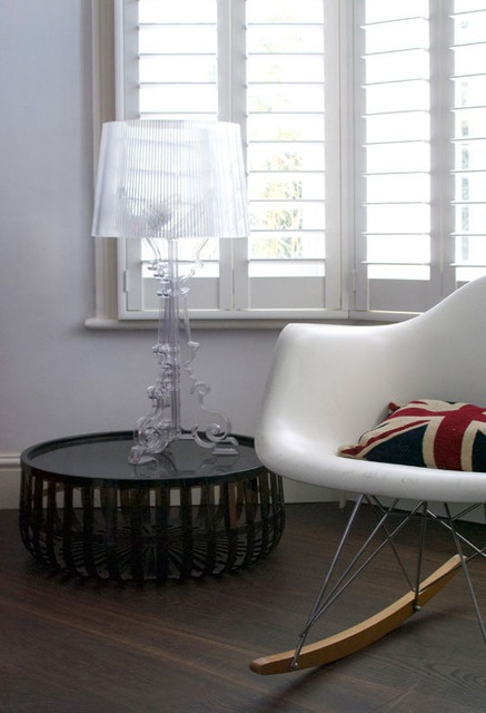 I like the short table with tall lamp.  It works..