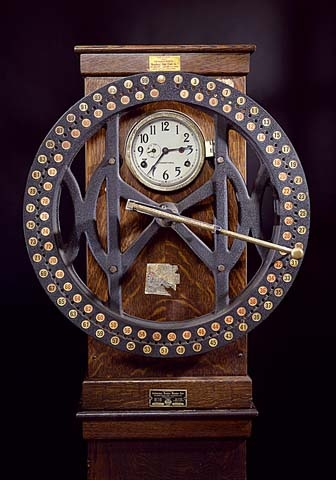 Time clock, 1912. This clock was used in a garment factory in New York to regulate the arrival and departure of employees and record how long they worked. From the National Museum of American History.