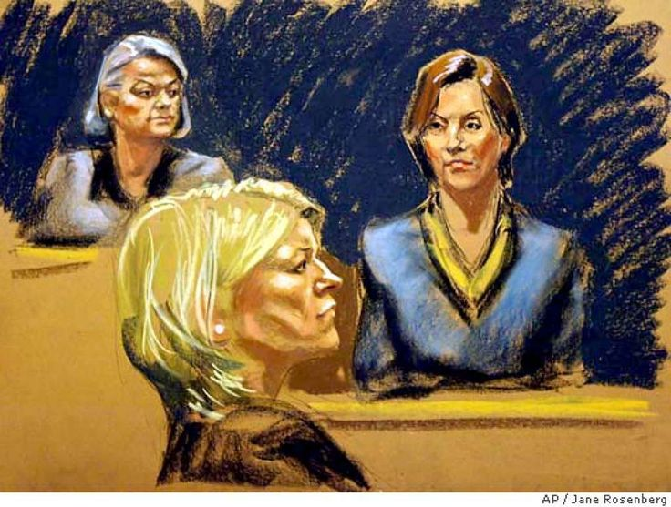 Martha StewartJudge Miriam Goldman Cedarbaum, left, listens as Mariana Pasternak, right, testifies in this courtroom sketch Thursday, Feb. 19, 2004 in the trial of Martha Stewart, center. Pasternak, whose friendship with Stewart goes back 20 years, said Stewart confided to her just after she sold the stock that ImClone CEO Sam Waksal had tried to sell his own shares. Photo: JANE ROSENBERG