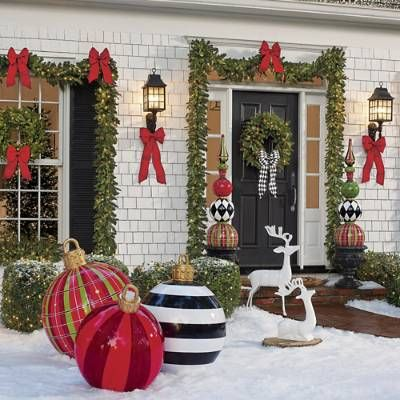 Yard Ornament Red Plaid Grandin Road In 2020 Large Christmas Ornaments Christmas Decorations Diy Outdoor Large Outdoor Christmas Ornaments