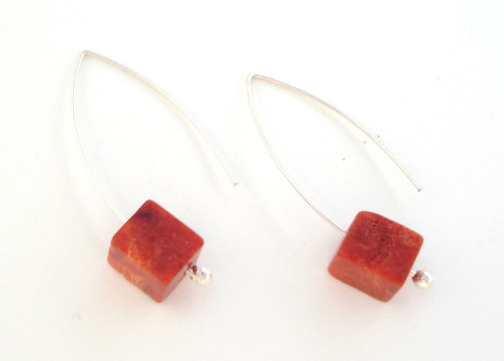 Coral earrings-Sterling silver earrings-Red corall-Natural sponge coral-Dangle…