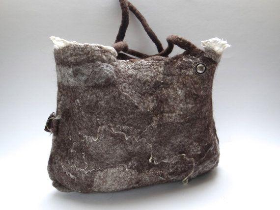 Handbag, tote, shoulderbag, eco friendly handmade felt, handfelted natural brown wool with fabric, ribbon and yarn.