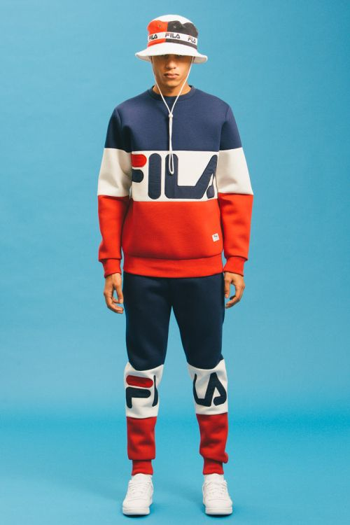 This Fila track suit is very good as it all works together due to the same look and colour theme running through it.  This could be re worked for summer as well by adding shorts to get the summer look.