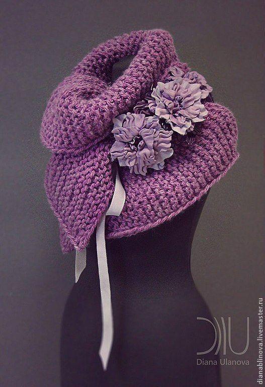Купить Шарф большой - фиолетовый, однотонный, шарф женский, шарф-воротник, шарф вязаный, красивый шарф