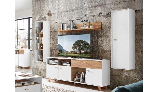 Belle Collection De Mobilier Scandinave De Qualite Exceptionnelle Un Ensemble Tele Mural Scandinave En Bois P Meuble Tv Design Meuble Tv Meuble Tv Blanc Laque