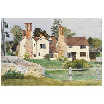 Watercolour - Brent Hall from the South, Finchingfield; Recording Britain Collection. Kenneth Rowntree