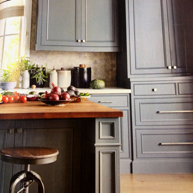 Grey kitchen cabinets against light wood floor this for Grey wood kitchen cabinets