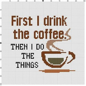 First I drink the Coffee then I do the things Cross Stitch
