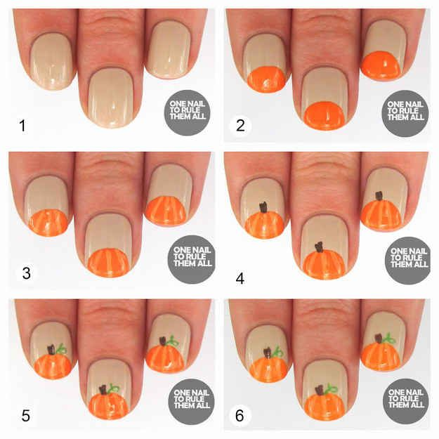 Pumpkin Nails | 20 DIY Nail Tutorials You Need To Try This Fall