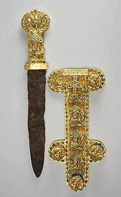 Dagger and Ornamental Sheath  Date of interment: last quarter of the 1st century AD  Gold, turquoise, sard, iron  Rostov Region, south-east vicinity of Azov  Dachi burial site. Barrow No. 1, Crypt 1  Azov Museum of History, Archaeology and Paleontology