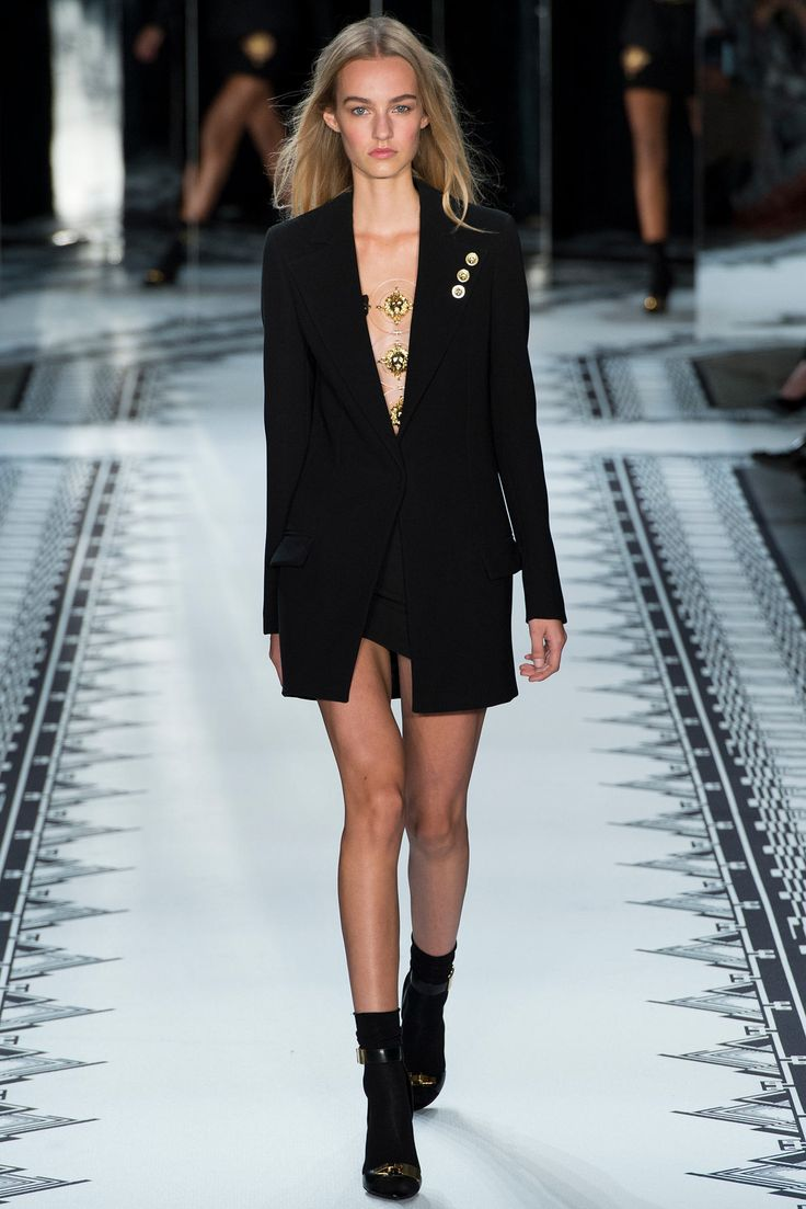 faux fur coats for women Versus Versace Spring 2015 Ready to Wear Collection Photos   Vogue