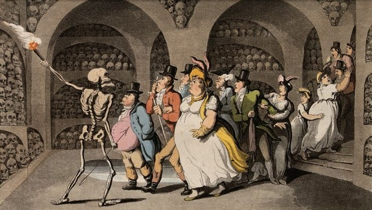 The dance of death: the vision of skulls by T. Rowlandson, 1816. The Wellcome Library, CC BY