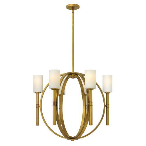 Hinkley Margeaux Vintage Brass Six Light Chandelier On SALE