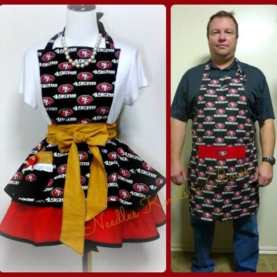 841da23f San francisco 49ers his and her aprons, forty niners aprons, womens ...