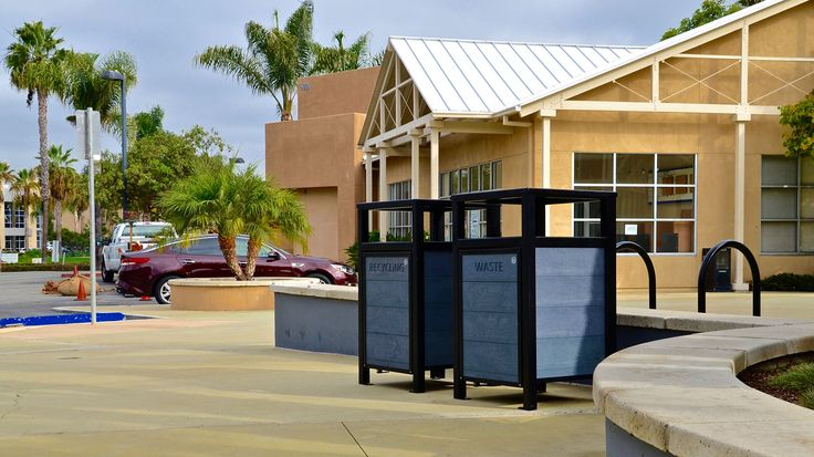 Wishbone Urban Form Easy Access #Waste and #Recycling Receptacles in #Carlsbad, California #landscapearch #streetfurniture #sitefurniture