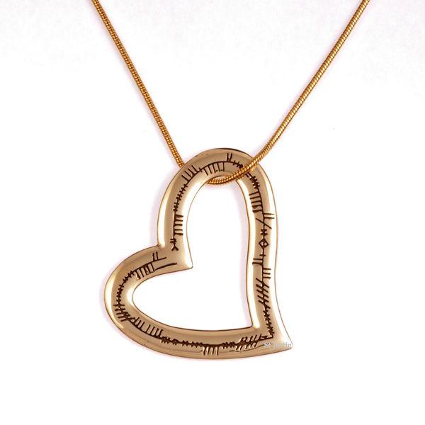 Ogham hart liefde bronzen hanger (BZP921)