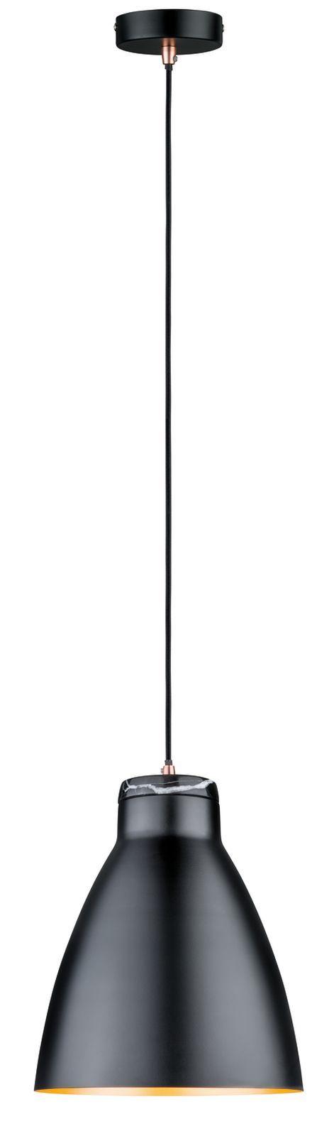 So edel  Diese Kombination aus Schwarz + Gold + Marmor ist eine Traum-Lampe     Paulmann Pendelleuchte Neordic Roald 1-flammig Schwarz/Kupfer/Marmor | markenbaumarkt24