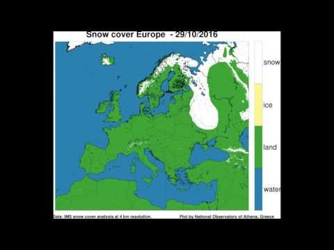 Snow cover extent in Europe Oct - Nov 2016 - YouTube