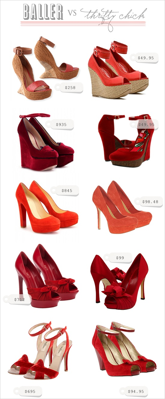 red wedding shoes. baller vs thrifty chick