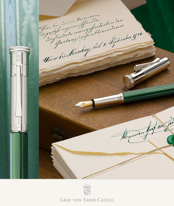 The barrel first hand looks almost black - but starts shimmering green when the right light is hitting the surface. Precisely engraved and several times elaborately lacquered metal barrel #grafvonfabercastell #fountainpen #green
