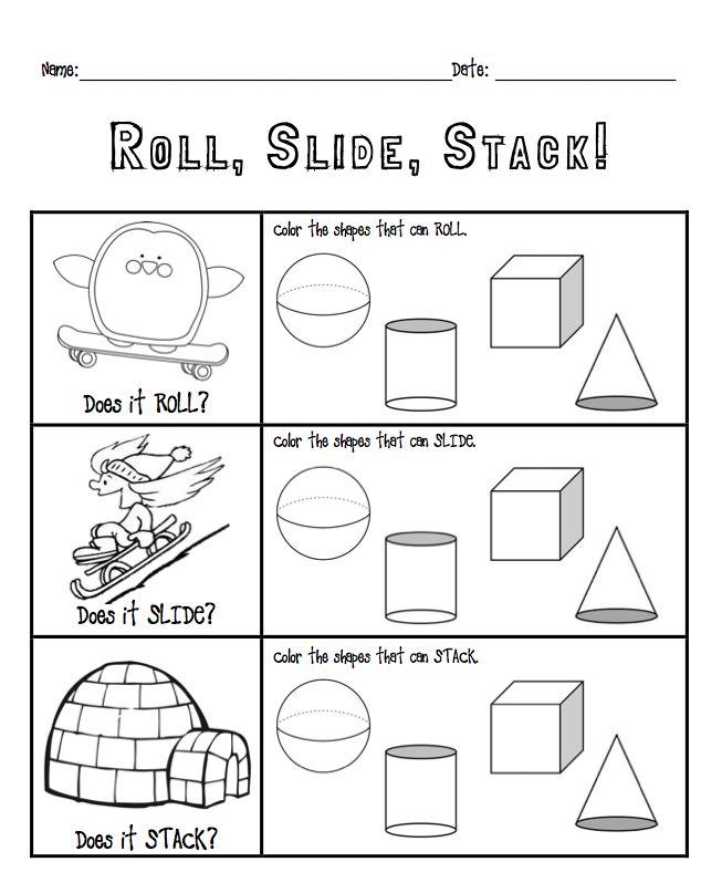 Kindergarten roll, slide, stack with solid shapes K.G.4