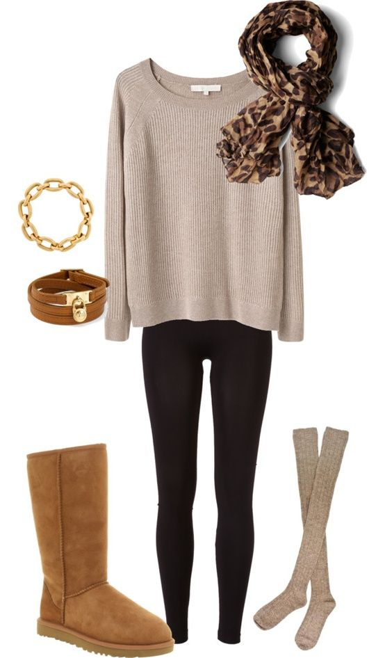 camel Ugg-like boots + long greyish cream sweater + black ...