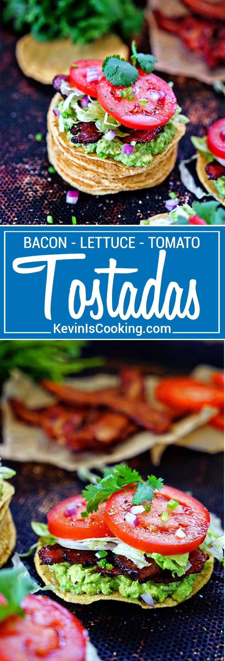 BLT Tostadas with Guacamole - A Mexican twist on an American classic sandwich - bacon, lettuce, tomatoes and a spicy guacamole all atop a crunchy tostada. via @keviniscooking