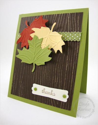 autumn accents wonder fall  card using the leaf die, coredinations paper and woodgrain embossing folder.