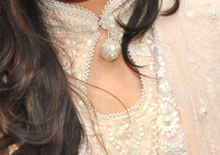 Peach Anarkali Dress with Pearl and Embroidery Work - Om Prakash, Chandni Chowk