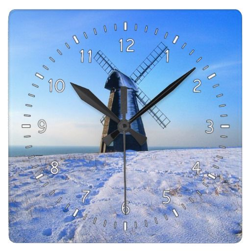 Windmill in Snow Wall Clock :- They believe that the Windmill in Rottingdean was dragged by Ox from Brighton in 1802! It was bitterly cold up on Beacon Hill as I trudged through the snow in order to take this shot! #windmill #history #snow #snowfall #cold #frozen #christmas #festive #yuletide #brighton #rottingdean #sussex #ovingdean #wind #flour #bread #grinding mill #milling #countryside #power #windmills #fineart