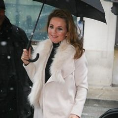 Geri Horner seen arriving at BBC Radio Two studios in London