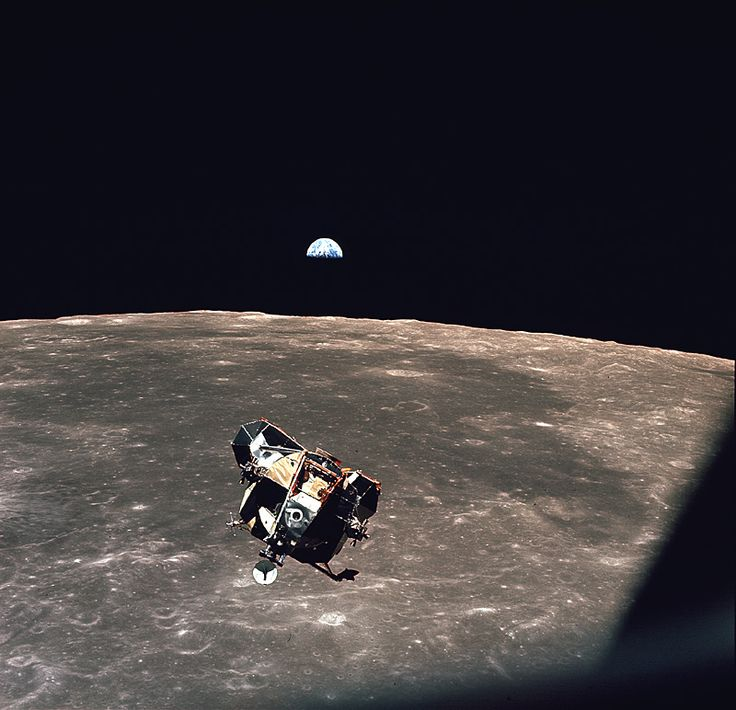 The Earth rises beyond the moon and the Apollo 11 Lunar Lander. Michael Collins inside the Apollo 11 capsule, is the only human, living or dead, not contained in the frame of this picture!