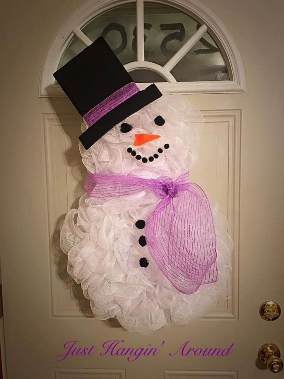 Snow man deco mesh wreath/winter by TriciaMaeHangtime on Etsy