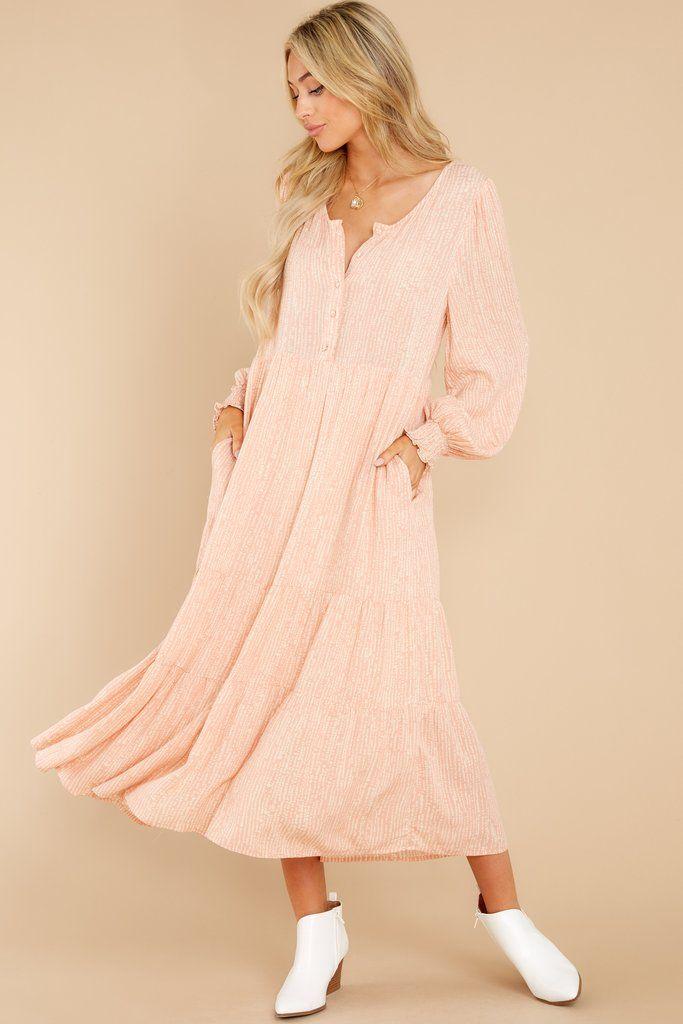 Lovely Pink Print Maxi Dress - Long Sleeve Dresses   Red Dress ...
