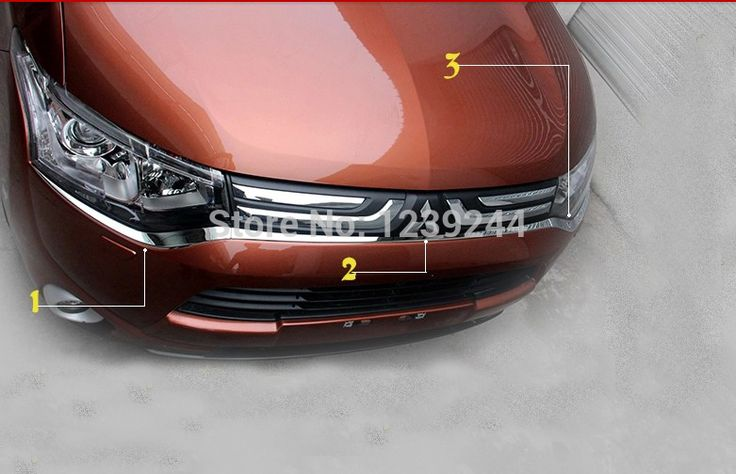 Chrome front bumper grille grill trim Molding for Mitsubishi Outlander 2013 2014 #Affiliate