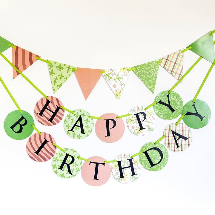 'Wink and smile' pink and green Made for Ava birthday banner and bunting set
