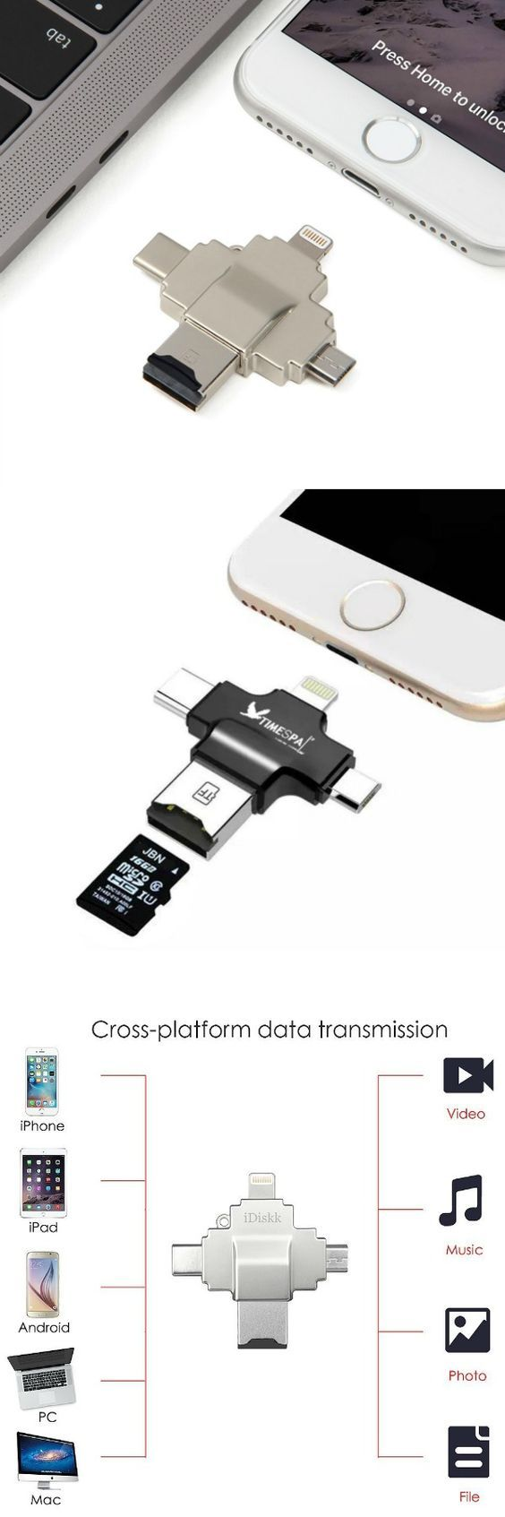 iDiskk High-Speed Flash Drive and Card Reader with Lightning&USB-C&Micro-USB Ports For iPhone, iPad, Galaxy, Nexus 5x6p, Pixel, Chromebook, Macbook Pro @aegisgears