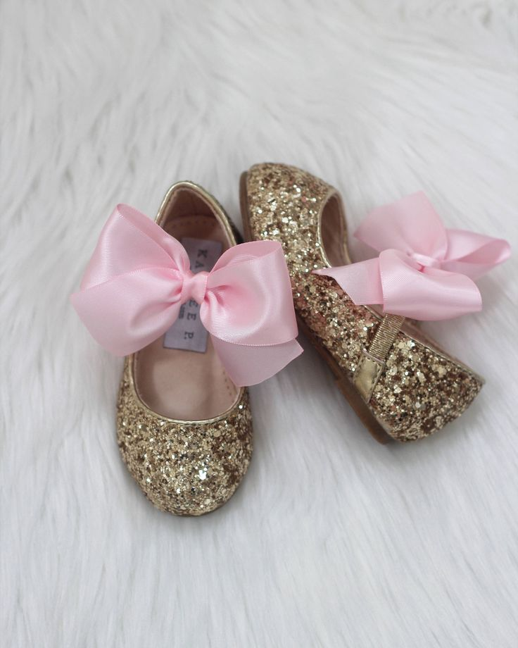 First Birthday Infant girl shoes, Toddler girl shoes, Kids Girls Shoes -  Silver& Gold ROCK glitter mary-jane with PINK SATIN ribbon bow for