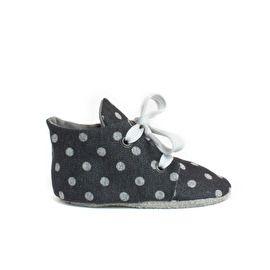 Disco Jeans babyschoentje met grijze polkadots - Babyshoe