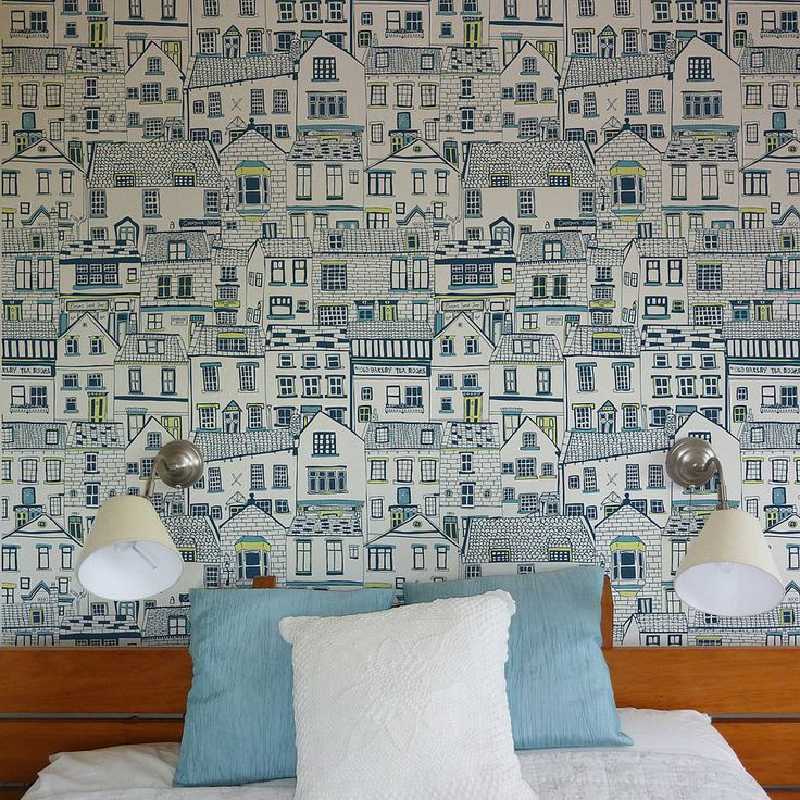 Coastal cottages wallpaper by Jessica Hogarth Designs