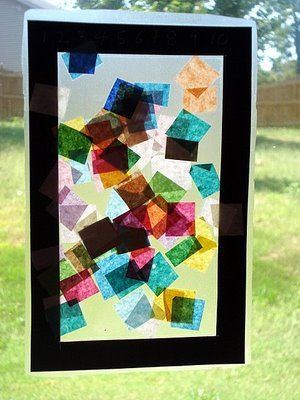"""oddler Craft: """"Stained Glass"""" - using tissue paper and contact paper - hole punch and tie string to hang up on window (or just tape up)"""