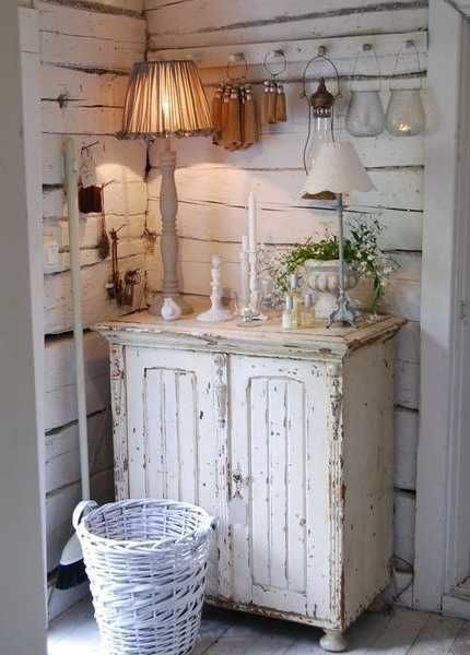 vintage furniture, storage cabinet and table lamps. Love the walls, want to put them in my mudroom!