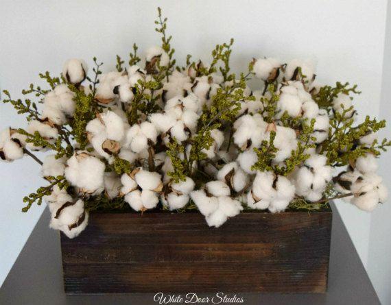 Large Cotton Centerpiece  Cotton Decor  by WhiteDoorStudios